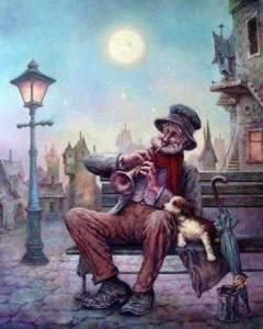 anciano trompeta ilustra