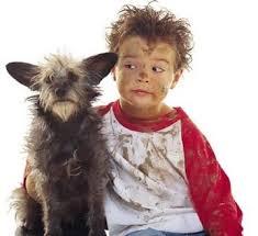 niño y mascota
